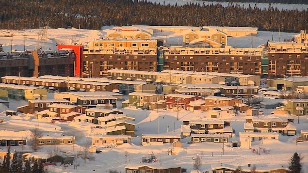 La Ville de Fermont vue des airs en hiver.