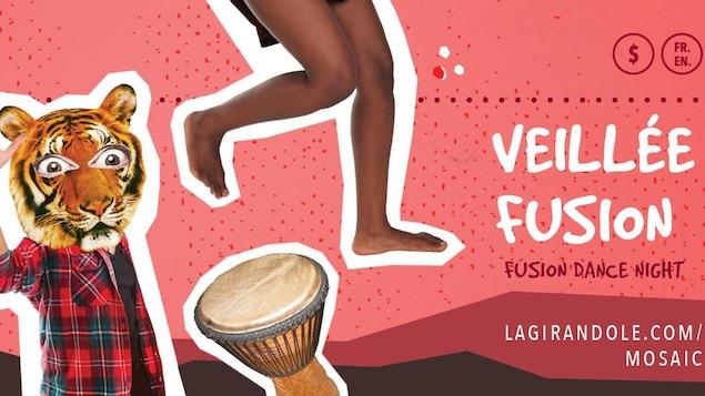 L'affiche de l'événement, Veillée fusion, un événement qui mélange toutes sortes de danses traditionelles.