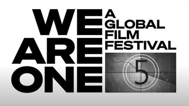 «We are one A global film festival» est écrit en noir sur un fond blanc.