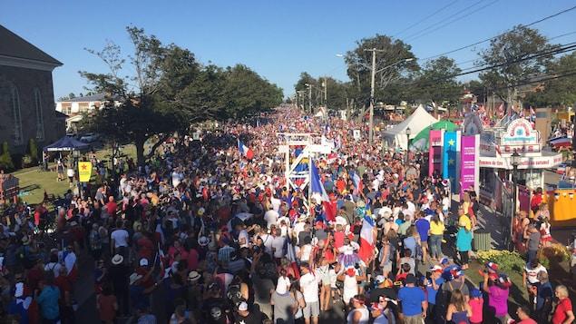 La fête nationale de l'Acadie le 15 août 2019 à Caraquet, au Nouveau-Brunswick.