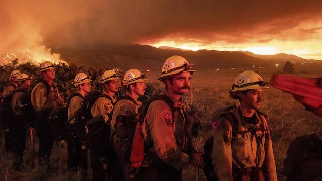 Des pompiers forestiers au travail.