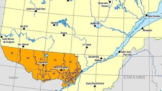 Une carte du Québec.