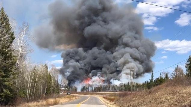 Un feu près de la route dans la forêt crée beaucoup de fumée.