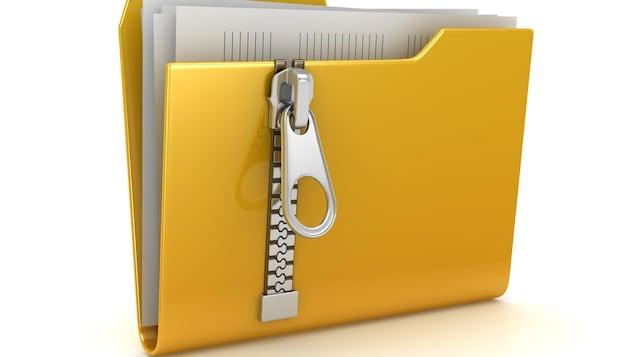Une image représentant un dossier contenant des fichiers informatiques. Sur le devant du dossier, une grosse fermeture éclair est visible.