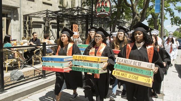 Plusieurs jeunes femmes tiennent des affiches et marchent sur le trottoir.