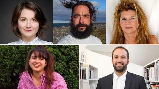 Montage photo du portrait des cinq finalistes.