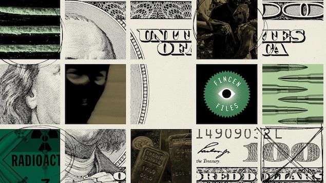 Un billet de 100 $ américains dans lequel on a intercalé des images d'homme avec une cagoule et de lingots d'or.