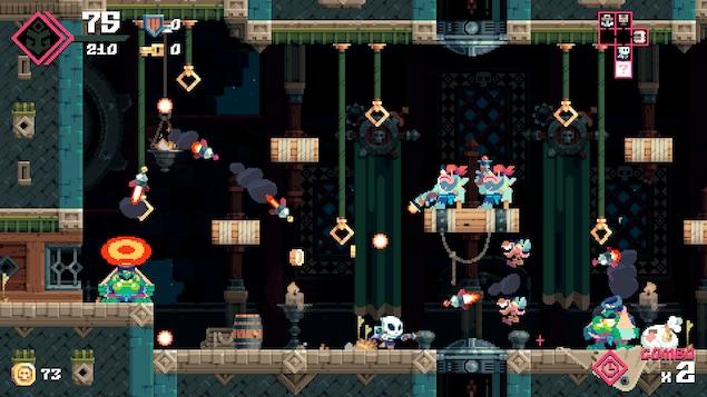 Des missiles se dirigent vers le personnage qui doit se rendre à l'autre bout de la pièce.