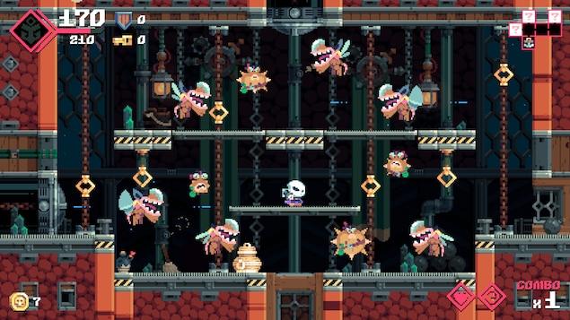 Le personnage se tient sur une plate-forme, entouré d'ennemis qui se dirigent vers lui.