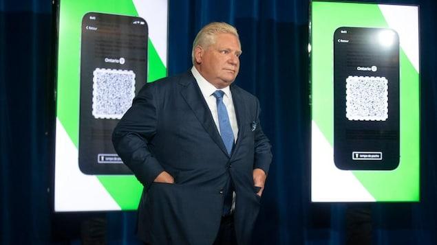 Doug Ford devant des photos de code QR.