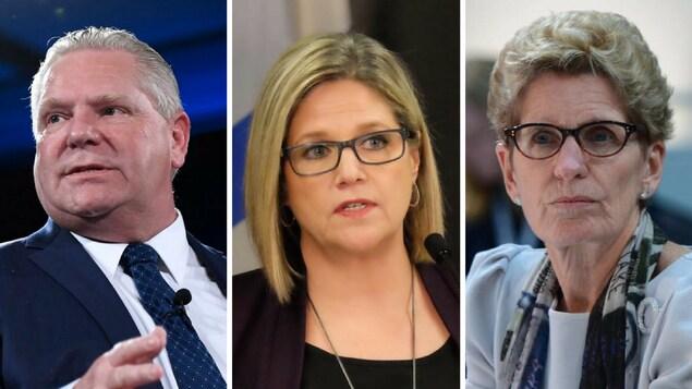 Photo des trois principaux candidats de la campagne