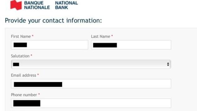 Capture d'écran du formulaire en ligne où le nom, courriel et numéro de téléphone d'un client apparaissent déjà.