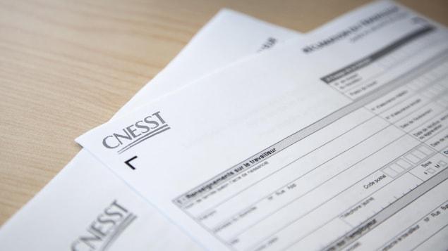 Un formulaire de réclamation de la CNESST