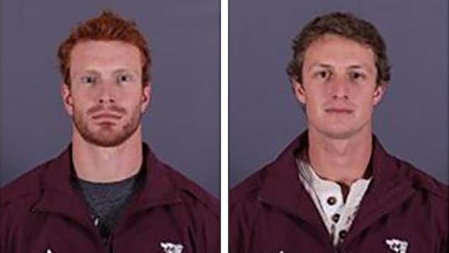 Un montage photo montre les deux joueurs de hockey un à côté de l'autre.