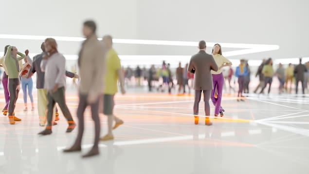 Illustration montrant les contacts entre les personnes dans une foule.
