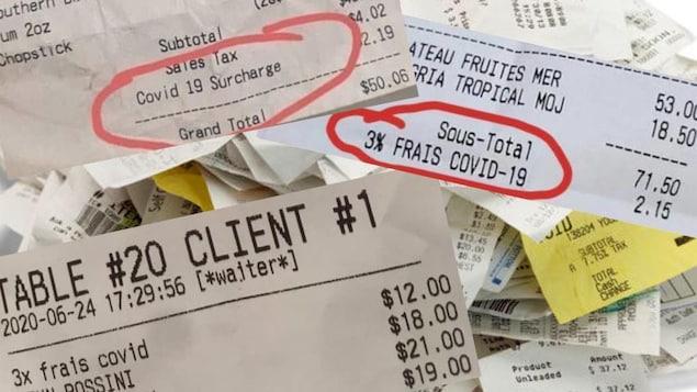 Des factures affichant des frais COVID.