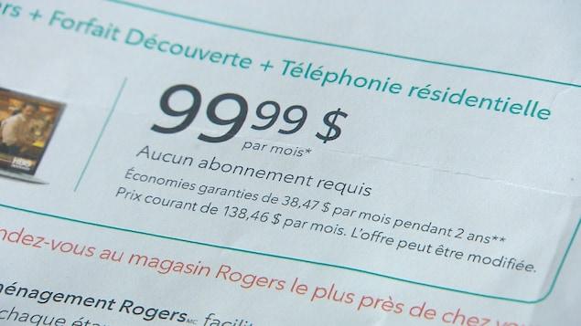 France Daigle a acheté un contrat chez Rogers au prix de 99,99$ plus taxes, mais après trois mois, sa facture est inexplicablement montée à 247,18$.