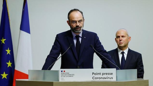 Édouard Philippe lors d'une allocution, samedi.