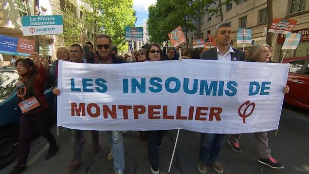Des partisans de La France insoumise à Montpellier