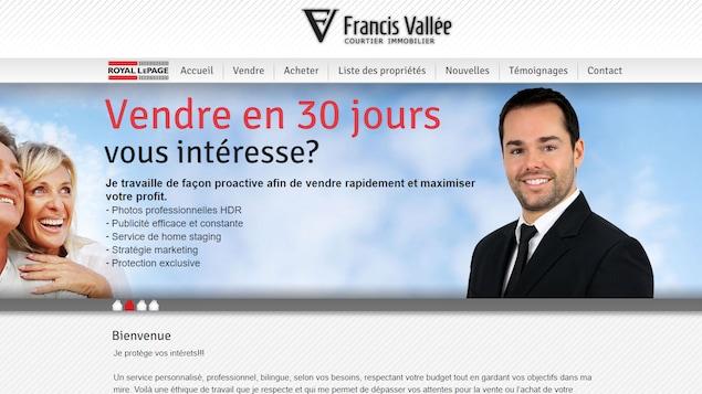 Le site internet de Francis Vallée avec sa photo.