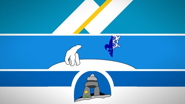 Les deux bandes du drapeau franco-yukonnais au-dessus, l'ours polaire du drapeau franco-ténois au centre, et l'inukshuk au bas de l'image.