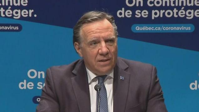 Le premier ministre du Québec en point de presse.