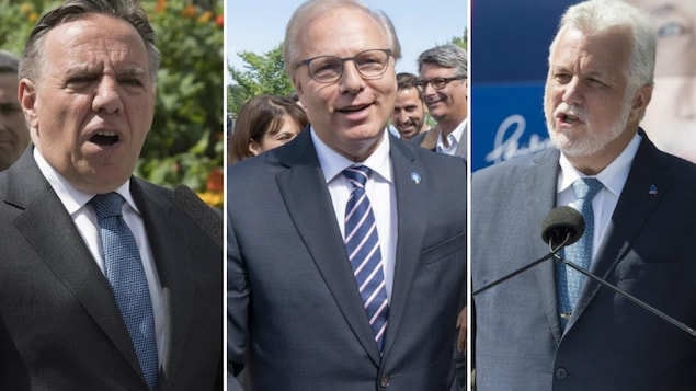 Un montage photo montre les trois chefs au moment du lancement de leur campagne électorale.
