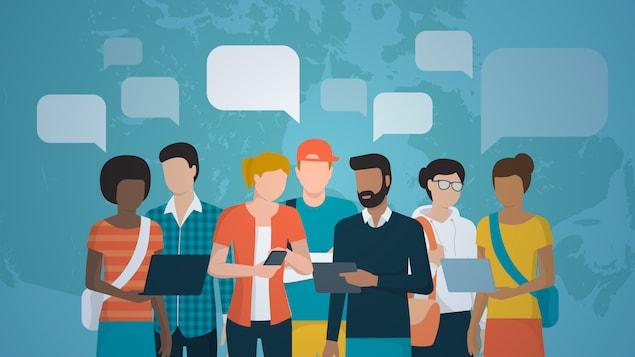 Infographie : personnes variées qui discutent entre elles
