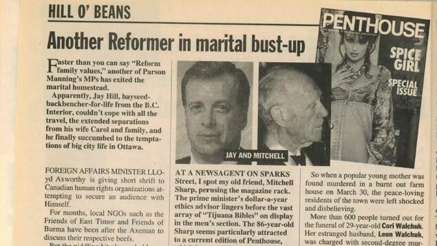 Un article dans un magazine aux pages jaunies accompagné de la photo de deux hommes et de la couverture d'un magazine érotique.