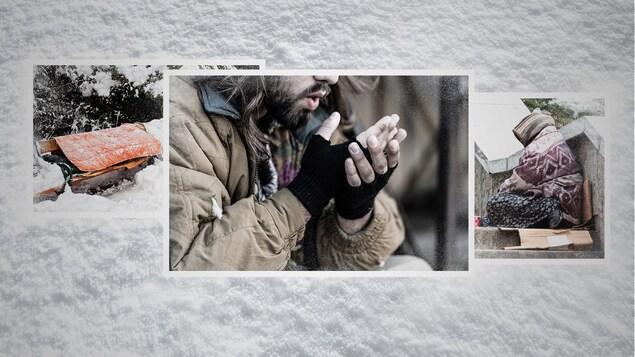 Trois photos de personnes itinérantes aux prises avec le froid.