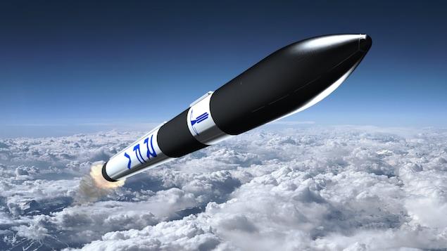 Illustration artistique d'une fusée de l'entreprise Rocket Factory Augsburg volant au-dessus des nuages.