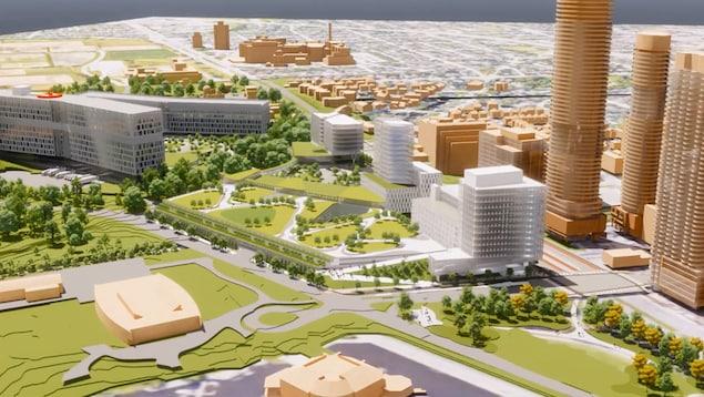 Une maquette 3D de plusieurs bâtiments autour d'un lac.