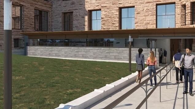 Vue extérieure de la nouvelle entrée du bâtiment de l'Assemblée législative de l'Ontario.