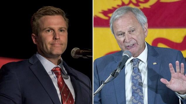 Les deux politiciens prononcent un discours devant leurs partisans durant les dernières élections.