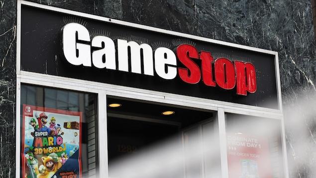 La bannière du détaillant de jeux vidéo GameStop