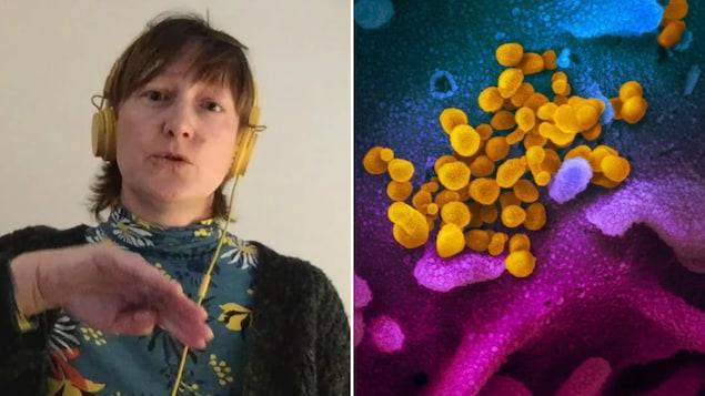 Montage photographique de Malgorzata Gasperowicz et du virus responsable de la COVID-19.
