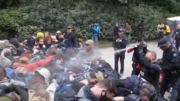 La policía usa usa gas pimienta contra los manifestantes en Fairy Creek, en la isla de Vancouver.