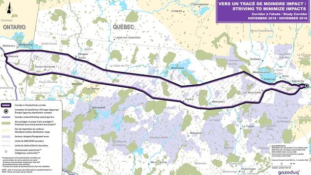 Une carte du Québec avec un tracé pour un futur oléoduc.