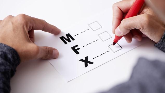 Une personne s'apprête à cocher une des cases M, F ou X.