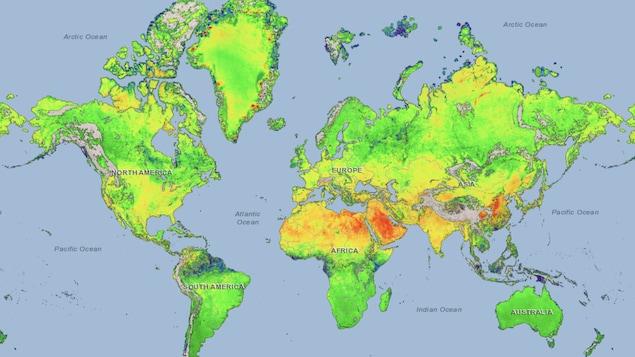 Carte du monde avec des couleurs montrant les variations dans les émissions de méthane.