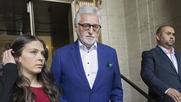 Gilbert Rozon à sa sortie de la Cour d'appel du Québec à Montréal, le 16 mai 2019.