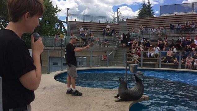 Des employés de l'Aquarium du Québec près d'un bassin
