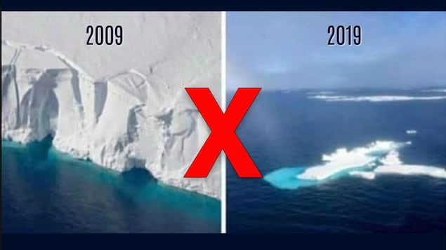 Le glacier de gauche est immense alors que celui de droite est minuscule.