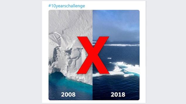 La photo de gauche montre un gros glacier, dans celui de droite, le glacier est minuscule.