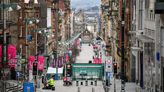 Les rues vides de Glasgow en raison de la pandémie de coronavirus.
