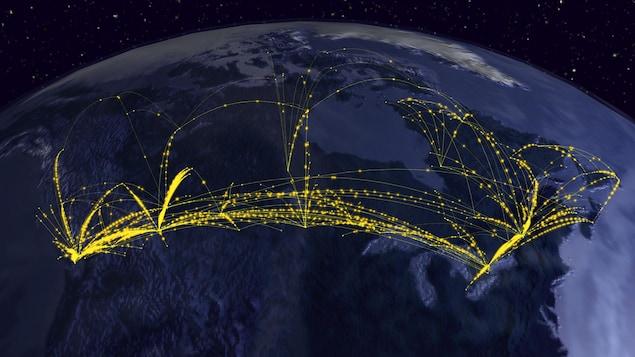 Une planète Terre avec des lignes représentant les vols d'avions entre provinces au Canada
