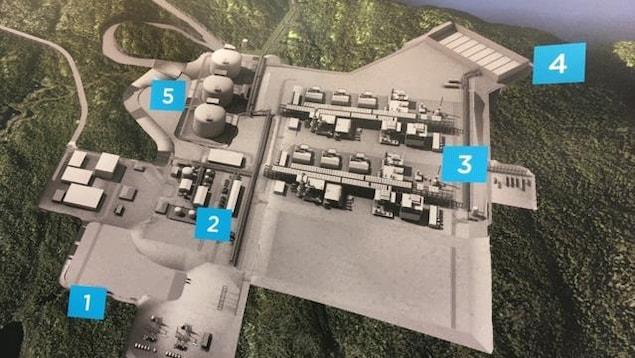 Un plan sommaire de l'usine de liquéfaction de gaz naturel de GNL Québec a été rendu public.