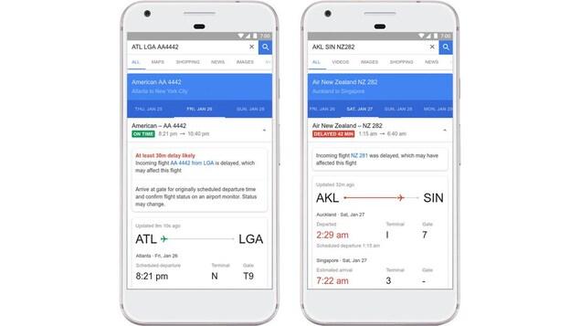 Deux captures d'écran de Google Flights; l'une montre une notification de prédiction de retard, l'autre montre les informations sur un vol dont le retard est confirmé.