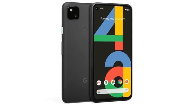 Le téléphone Pixel 4A, vu de dos et de face.