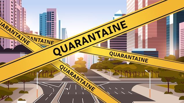 Graphique d'une ville barricadée de ruban jaune identifié par le mot quarantaine.